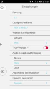 Riva App Einstellungen